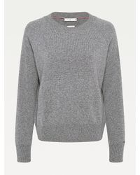 Tommy Hilfiger Gray Pure Recycled Cashmere Relaxed Fit Jumper