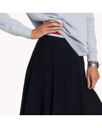 Tommy Hilfiger Blue Pleated Crepe Skirt