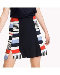 Tommy Hilfiger Blue Stripe Fitted Flare Skirt