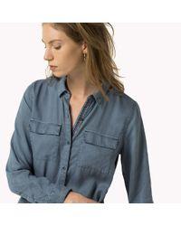 Tommy Hilfiger - Blue Belted Shirt Dress - Lyst