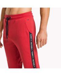 Tommy Hilfiger Red Logo Strip Joggers for men