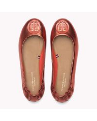Tommy Hilfiger Red Metallic Leather Ballerina Shoes