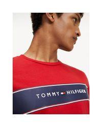Tommy Hilfiger Red Logo Stripe Organic Cotton T-shirt for men