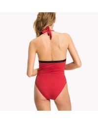 Tommy Hilfiger Red Halter Neck Logo Swimsuit