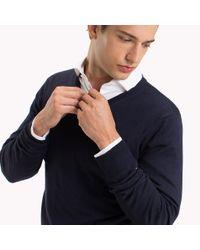 Tommy Hilfiger Blue V-neck Wool Jumper for men