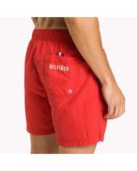 Tommy Hilfiger Red Logo Drawstring Swim Shorts for men