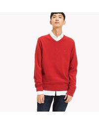 Tommy Hilfiger Red Pure Cotton V-neck Jumper for men