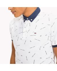 Tommy Hilfiger White Regular Fit Printed Polo for men