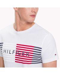 Tommy Hilfiger White Stripe Logo T-shirt for men
