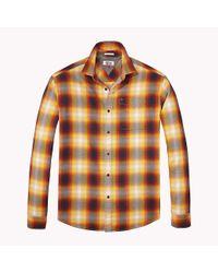 Tommy Hilfiger Orange Cotton Twill Regular Fit Checkered Shirt for men