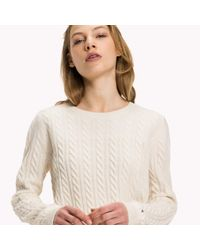 Tommy Hilfiger White Wool Blend Cable Jumper