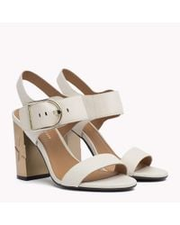 Tommy Hilfiger Multicolor Oversized Buckle Leather Sandals