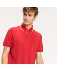 Tommy Hilfiger Red Regular Fit Tipped Polo for men