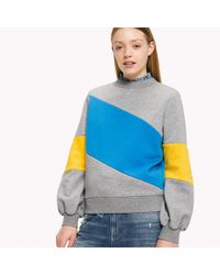 Tommy Hilfiger - Gray Fleece Colour Block Sweatshirt - Lyst