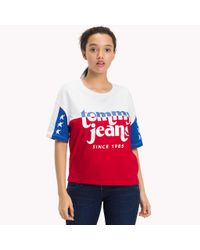 Tommy Hilfiger Red Colour-blocked T-shirt