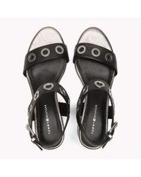Tommy Hilfiger Black Eyelet Leather Block Sandals