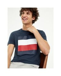 Tommy Hilfiger Blue Signature Colour-blocked Design T-shirt for men