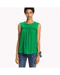 Tommy Hilfiger Green Gathered Jersey Top