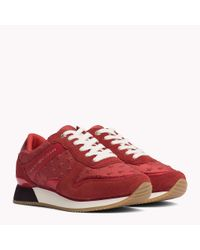 Tommy Hilfiger Red Suede Star Trainers