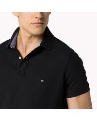 Tommy Hilfiger Black Slim Fit Cotton Polo Shirt for men