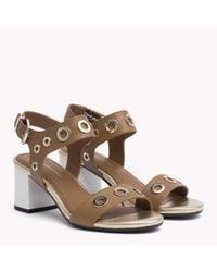 Tommy Hilfiger Brown Eyelet Leather Block Sandals