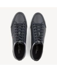 Tommy Hilfiger Blue Leather Perforated Trainers for men