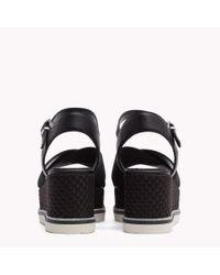 Tommy Hilfiger Black Flatform Woven Heel Sandals