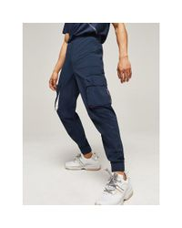 Tommy Hilfiger Blue Reflective Cargo Joggers for men