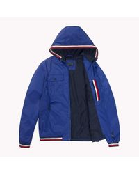 Tommy Hilfiger Blue Hooded Nylon Tape Jacket for men