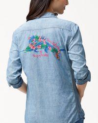 Tommy Bahama Blue Tropical Anniversary Panelback Shirt