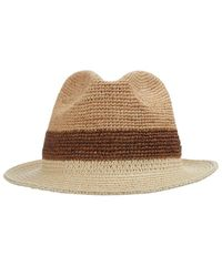 Tommy Bahama - Natural Crochet Raffia Fedora With Braid - Lyst