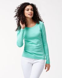 Tommy Bahama Green Indio Long-sleeve Crewneck T-shirt
