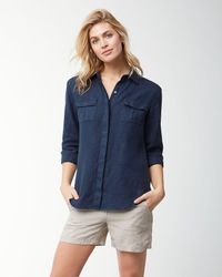 Tommy Bahama Blue Two Palms Linen Shirt