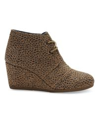 TOMS - Brown Desert Cheetah-print Wedge Booties - Lyst