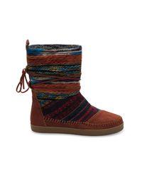 TOMS | Brown Cognac Suede Textile Mix Women's Nepal Boots | Lyst