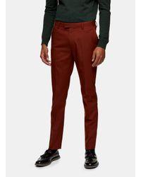 Topman Yellow Rust Skinny Fit Suit Trouser for men