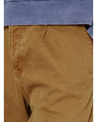 Topman Brown Tan Twill Cotton Cropped Tapered Trouser for men