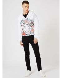 Topman - White Design Seagull Print Puffer Jacket for Men - Lyst