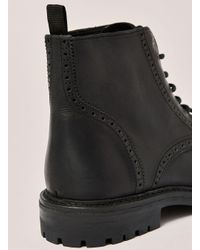 Topman - Black Leather Harvey Brogue Boot for Men - Lyst
