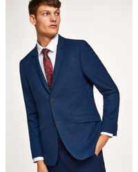 Topman Blue Navy With Subtle Windowpane Check Skinny Suit Jacket for men