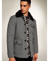 Topman Black Houndstooth Borg Lined Jacket for men