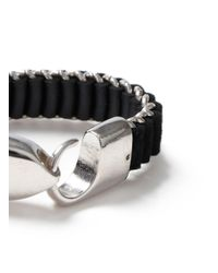 Topman - Black Oversized Woven Bracelet for Men - Lyst