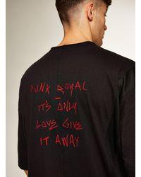 Topman - Punk Royal Black Panelled T-shirt for Men - Lyst
