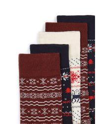 Topman - Red Christmas Fair Isle Socks 5 Pack for Men - Lyst