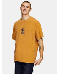 Topman Yellow Mustard New York City Embroidered T-shirt for men