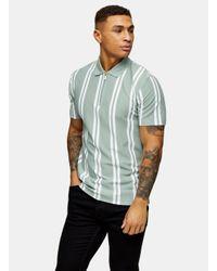 Topman Green Sage Stripe Pol for men