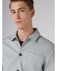 Topman Gray Light Blue Skinny Fit Worker Jacket for men
