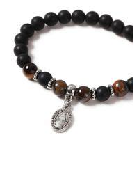 Topman - Brown Beaded Charm Bracelet for Men - Lyst
