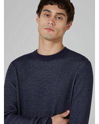 Topman - Blue Navy Birdseye Textured Sweater for Men - Lyst