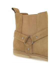 Topman - Yellow Sand Suede 'harness' Chelsea Boots for Men - Lyst
